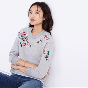 Madewell Grey Rose Embroidered Sweatshirt Sz LG